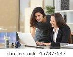 two happy businesswomen... | Shutterstock . vector #457377547