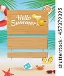 summer wooden sign on tropical... | Shutterstock .eps vector #457379395