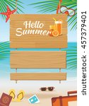 summer wooden sign on tropical... | Shutterstock .eps vector #457379401