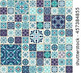 mega patchwork colored pattern... | Shutterstock . vector #457384855