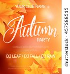vector autumn party poster with ... | Shutterstock .eps vector #457388515