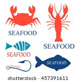 set of seafood logo templates   Shutterstock .eps vector #457391611