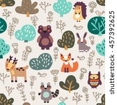 funny animal seamless pattern... | Shutterstock .eps vector #457392625