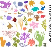 silhouettes of sea animal | Shutterstock . vector #457396321