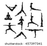 yoga workout. silhouettes of a... | Shutterstock .eps vector #457397341