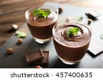 chocolate mousse with mint in... | Shutterstock . vector #457400635