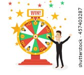 wheel of fortune with man | Shutterstock . vector #457403287
