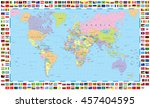 colored world map and flags   | Shutterstock .eps vector #457404595