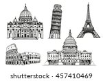 United States Capitol Building, Eiffel Tower, Tower of Pisa, Coliseum, St. Peter's Basilica, world landmark vector set