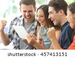 excited group of four friends... | Shutterstock . vector #457413151