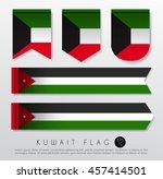 set of world flag ribbon... | Shutterstock .eps vector #457414501