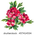 bouquet of peony flowers | Shutterstock .eps vector #457414534
