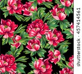 pattern with bouquet of peony... | Shutterstock .eps vector #457414561