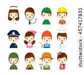people occupations icons set ... | Shutterstock .eps vector #457417831