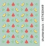 flat fruits pattern. vector... | Shutterstock .eps vector #457430449