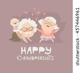 happy grandparents playing with ... | Shutterstock .eps vector #457446961