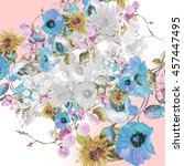 beautiful  watercolor bouquet... | Shutterstock . vector #457447495