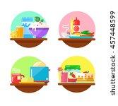 breakfast icons illustration in ... | Shutterstock .eps vector #457448599