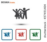 happy family icon in simple...   Shutterstock .eps vector #457451404