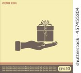gift box and hand icon | Shutterstock .eps vector #457455304