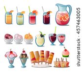set of refreshing drinks and... | Shutterstock .eps vector #457463005