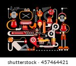 manufacturing robots vector... | Shutterstock .eps vector #457464421