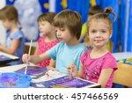 cute kids doing their craft ... | Shutterstock . vector #457466569