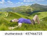 beautiful young woman relaxing...   Shutterstock . vector #457466725