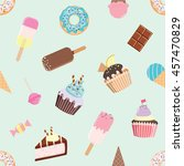 birthday seamless pattern with... | Shutterstock .eps vector #457470829