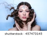 eastern queen. fashion model... | Shutterstock . vector #457473145