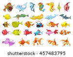 set of funny colourful fish... | Shutterstock .eps vector #457483795