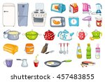 set of household appliances and ... | Shutterstock .eps vector #457483855