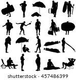 seniors on beach holiday vector ... | Shutterstock .eps vector #457486399