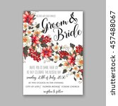 wedding card or invitation with ... | Shutterstock .eps vector #457488067