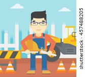 an asian engineer with a... | Shutterstock .eps vector #457488205