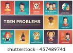 set of modern vector flat... | Shutterstock .eps vector #457489741