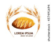 ears of wheat with loaf. vector   Shutterstock .eps vector #457491694