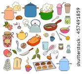 hand drawn objects food and... | Shutterstock .eps vector #457491859