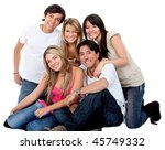 happy friends isolated over a... | Shutterstock . vector #45749332