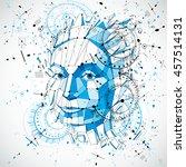communication technology 3d... | Shutterstock . vector #457514131