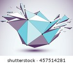 dimensional blue wireframe...   Shutterstock . vector #457514281