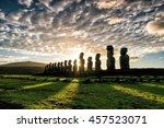 Silhouette Shot Of Moai Statue...