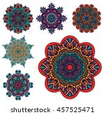 set of mandala pattern. round... | Shutterstock .eps vector #457525471