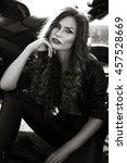 sexual biker woman wearing... | Shutterstock . vector #457528669