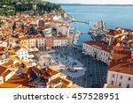 beautiful aerial view on piran... | Shutterstock . vector #457528951