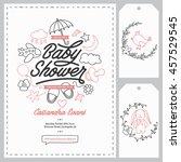 baby shower invitation... | Shutterstock .eps vector #457529545