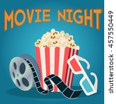 movie reel popcorn and 3d... | Shutterstock .eps vector #457550449