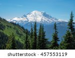 Snow Capped Mount Rainier On A...