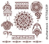 hand drawn henna abstract... | Shutterstock .eps vector #457556539