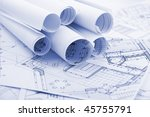 rolls of architecture blueprints | Shutterstock . vector #45755791